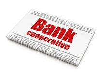 Money concept: newspaper headline Bank Cooperative. On White background, 3D rendering Stock Photography