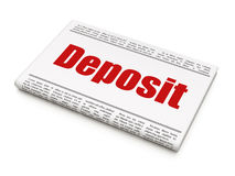 Money concept: newspaper headline Deposit Stock Photo