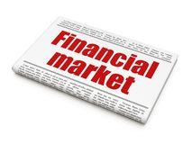 Money concept: newspaper headline Financial Market. On White background, 3D rendering Stock Photos
