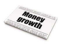 Money concept: newspaper headline Money Growth. On White background, 3D rendering Stock Image