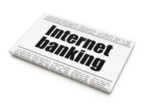 Money concept: newspaper headline Internet Banking. On White background, 3D rendering Royalty Free Stock Images