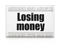 Money concept: newspaper headline Losing Money. On White background, 3D rendering Royalty Free Stock Photos