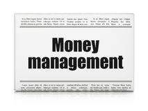 Money concept: newspaper headline Money Management. On White background, 3D rendering Royalty Free Stock Images