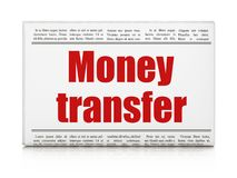 Money concept: newspaper headline Money Transfer. On White background, 3D rendering Royalty Free Stock Photos