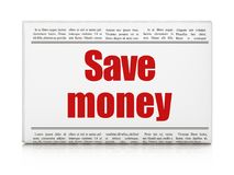 Money concept: newspaper headline Save Money. On White background, 3D rendering Stock Images