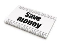 Money concept: newspaper headline Save Money. On White background, 3D rendering Stock Image