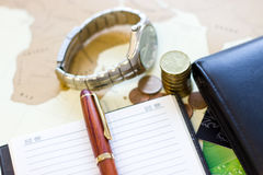 Money concept: сoins, purse, credit cards,wristwatch, pen, note Royalty Free Stock Image