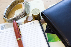 Money concept: сoins, purse, credit cards,wristwatch, pen, note Stock Photo