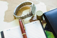 Money concept: сoins, purse, credit cards,wristwatch, pen, note Royalty Free Stock Photo
