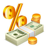 Money concept. Money packs, coins and golden percent sign Royalty Free Stock Images