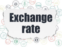 Money concept: Exchange Rate on Torn Paper background. Money concept: Painted black text Exchange Rate on Torn Paper background with Scheme Of Hand Drawn Finance Royalty Free Stock Photo