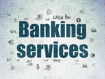 Money concept: Banking Services on Digital Data Paper background. Money concept: Painted blue text Banking Services on Digital Data Paper background with  Hand Stock Photos