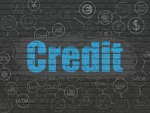 Money concept: Credit on wall background. Money concept: Painted blue text Credit on Black Brick wall background with Scheme Of Hand Drawn Finance Icons Royalty Free Stock Photo