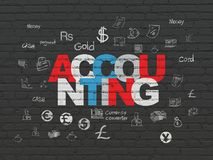 Money concept: Accounting on wall background. Money concept: Painted multicolor text Accounting on Black Brick wall background with  Hand Drawn Finance Icons Stock Photography