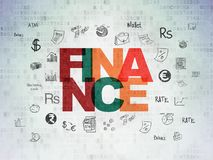 Money concept: Finance on Digital Data Paper background. Money concept: Painted multicolor text Finance on Digital Data Paper background with  Hand Drawn Finance Stock Photos