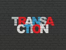 Money concept: Transaction on wall background. Money concept: Painted multicolor text Transaction on Black Brick wall background Stock Photography