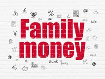 Money concept: Family Money on wall background. Money concept: Painted red text Family Money on White Brick wall background with  Hand Drawn Finance Icons Stock Photos