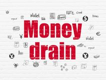 Money concept: Money Drain on wall background. Money concept: Painted red text Money Drain on White Brick wall background with  Hand Drawn Finance Icons Royalty Free Stock Photos