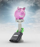 Money concept with pig money box in heaven stock illustration