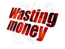 Money concept: Wasting Money on Digital background. Money concept: Pixelated red text Wasting Money on Digital background Stock Images