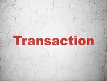 Money concept: Transaction on wall background. Money concept: Red Transaction on textured concrete wall background Stock Photo