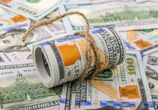 Money concept. roll of dollars Royalty Free Stock Photo