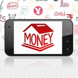 Money concept: Smartphone with Money Box on display. Money concept: Smartphone with  red Money Box icon on display,  Hand Drawn Finance Icons background, 3D Royalty Free Stock Image
