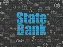Money concept: State Bank on wall background. Money concept: Painted blue text State Bank on Black Brick wall background with  Hand Drawn Finance Icons Royalty Free Stock Photos