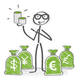 Money concept. Stick figures holding different money currencies in hand Royalty Free Stock Photography