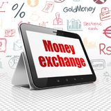 Money concept: Tablet Computer with Money Exchange on display. Money concept: Tablet Computer with  red text Money Exchange on display,  Hand Drawn Finance Icons Royalty Free Stock Photo