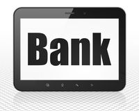 Money concept: Tablet Pc Computer with Bank on display. Money concept: Tablet Pc Computer with black text Bank on display, 3D rendering Stock Images