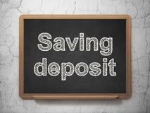 Money concept: Saving Deposit on chalkboard background. Money concept: text Saving Deposit on Black chalkboard on grunge wall background, 3D rendering Stock Image