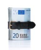 Money concept - tighten belt. Euro money concept - tighten belt. Spend less money Stock Photos