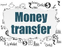 Money concept: Money Transfer on Torn Paper background. Money concept: Painted blue text Money Transfer on Torn Paper background with  Hand Drawn Finance Icons Royalty Free Stock Photo