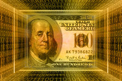 Money concept, USA dollars. Global Information technology, binary code tunnel