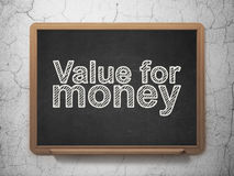 Money concept: Value For Money on chalkboard background Royalty Free Stock Photos