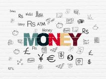 Money concept: Money on wall background. Money concept: Painted multicolor text Money on White Brick wall background with  Hand Drawn Finance Icons Stock Photography