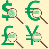 Money concept with world currency. Signs of Dollar, Yen, Euro and Pound Sterling examined under a magnify glass, and see hidden percents Royalty Free Stock Image