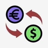 Money convert icon. Euro. Flat design style Royalty Free Stock Photo