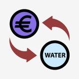 Money convert icon. Euro. Flat design style Stock Photos