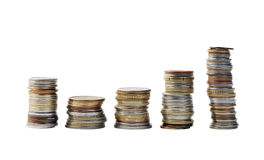 Money. copper coins. Large number of small money. metal coins Royalty Free Stock Photo