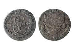 Money. copper coins. Old copper coins. the reign of Catherine 2. two cents stock photography