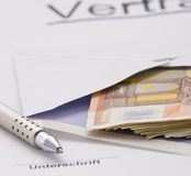 Money for corruption. Signature waiting for some money Royalty Free Stock Photo