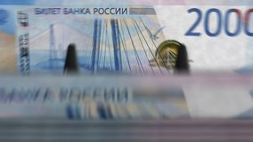 Money counting machine – 2000 Russian Rubles stock video