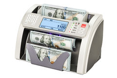 Money counting machine with dollars, 3D rendering Royalty Free Stock Photo