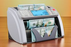 Money counting machine with dollars on the wooden table. 3D rend. Money counting machine with dollars on the wooden table. 3D Stock Images