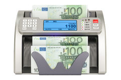 Money counting machine with euro, 3D Royalty Free Stock Photography