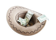 Money in a cowboy hat Stock Photos