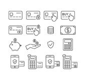 Money and credit card, debit card icon set. Payment, transactions and banking icons. Outline, editable icons Royalty Free Stock Photo