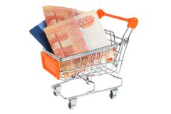 Money, credit card in shopping cart isolated Stock Photo